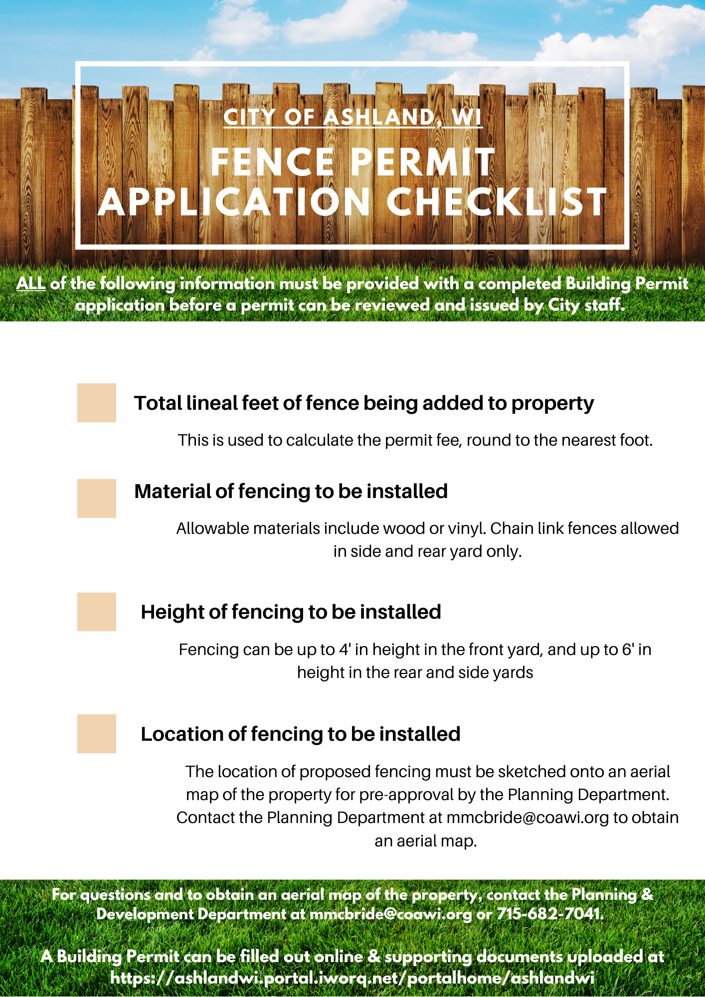 2021 Fence Permit Application Checklist